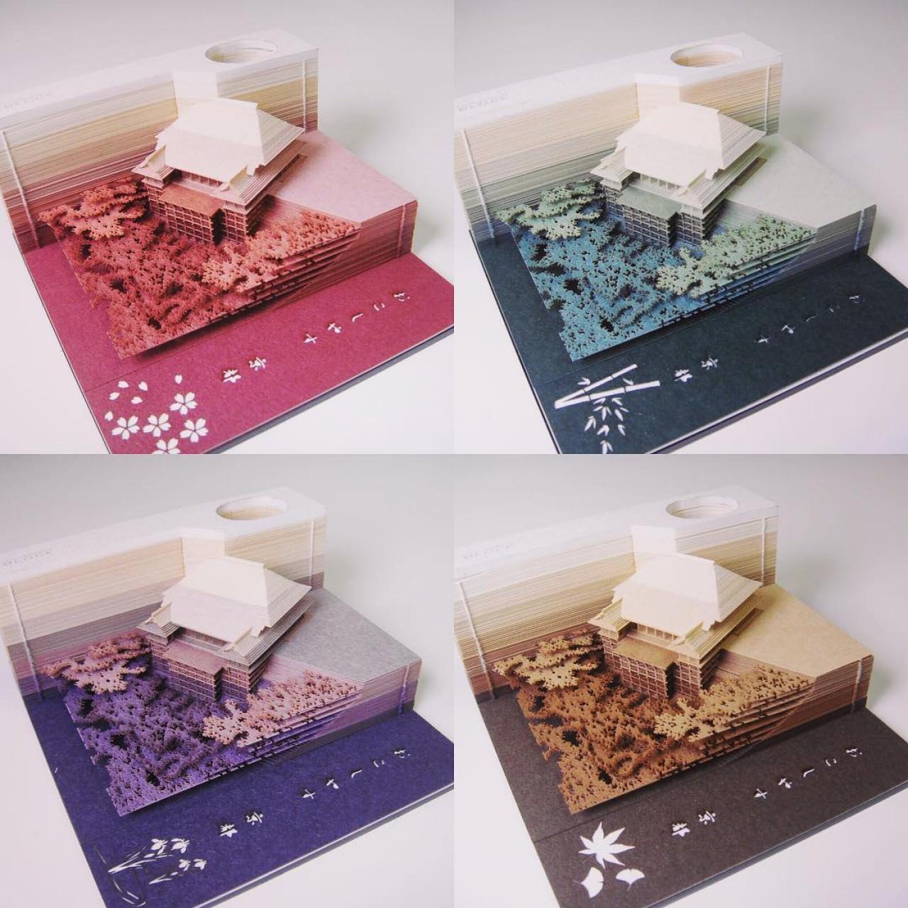 日本最美memo紙 暗藏紙雕清水寺 東京鐵塔
