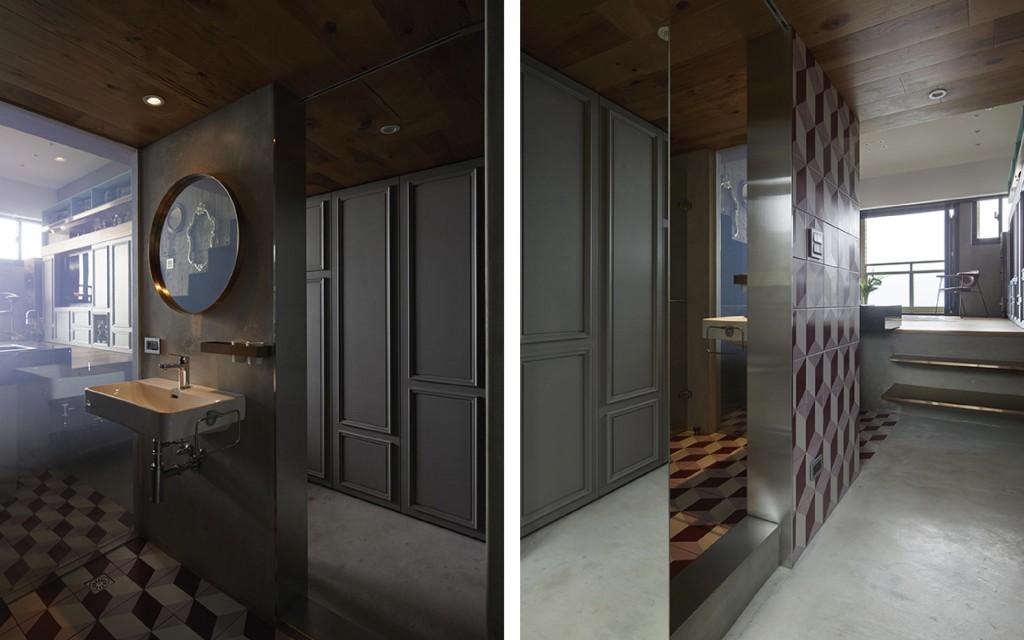 入口玄機左邊是洗手間,以一塊玻璃作為與客廳的分隔,讓兩個空間互相看穿,洗手間地地台是幾何圖案的地磚,天花是木,而天花和地台物料在設計上伸延至玄關和客廳中的其中一處。