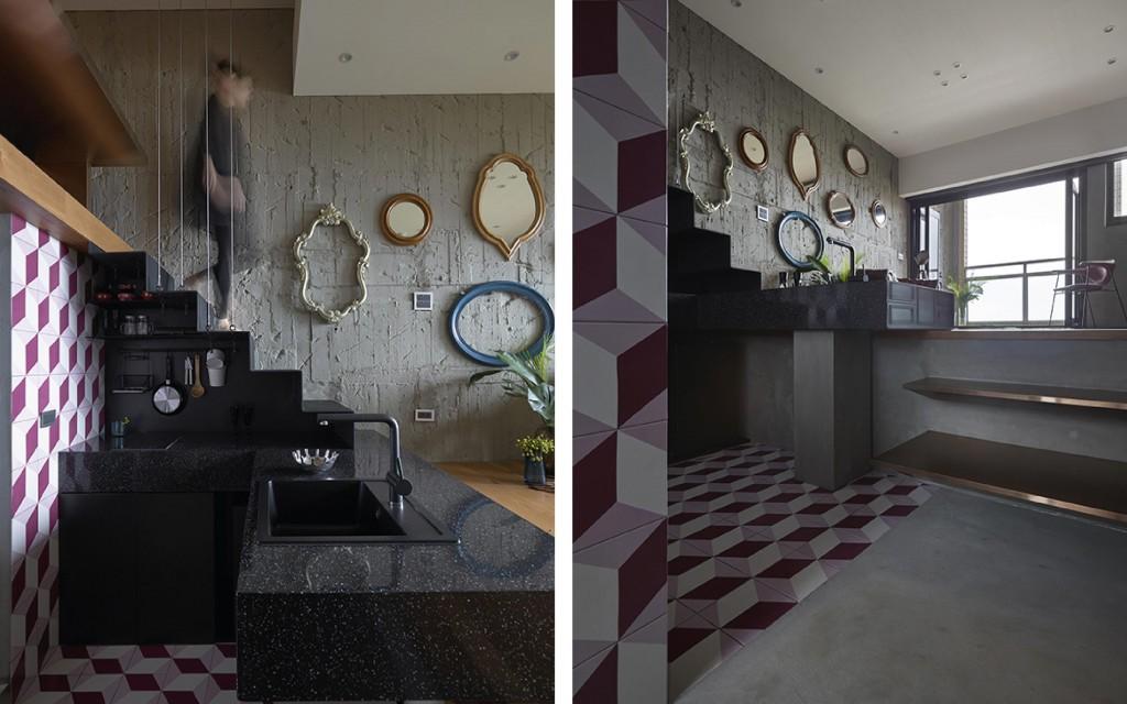 以物料的配置令空間的物件被重新定義,如黑色石枱面和樓梯以黑色連成一體,幾何圖案覆蓋到牆身和地台上,打造屬於這些元素的專屬空間。
